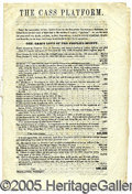 Political:Small Paper (pre-1896), 1848 ANTI-CASS SATIRICAL PAMPHLET. 8 pages. Includes detailed ac...