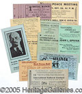 Political:Small Paper (1896-present), MOST UNUSUAL COLLECTION OF (23) 1930'S LEFTWING TICKETS, CARDS, ...