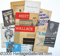 Political:Small Paper (1896-present), COLLECTION OF 10 SCARCE 1948 HENRY WALLACE ITEMS. Wallace, of co...