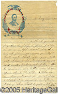 Political:Small Paper (pre-1896), NICE COLORFUL LINCOLN WRITING PAPER. With uncommon image of Abe ...