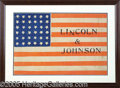 Political:Textile Display (pre-1896), IMPORTANT LARGE 1864 LINCOLN CLOTH CAMPAIGN FLAG. This choice 17...