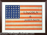 IMPORTANT LARGE 1864 LINCOLN CLOTH CAMPAIGN FLAG. This choice 17 inch by 12 inch beauty makes a wonderful display item f...