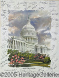 Autographs:Statesmen, WONDERFUL PRINT OF THE U.S. CAPITOL SIGNED BY 56 MEMBERS OF THE ...