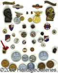 Political:Ferrotypes / Photo Badges (pre-1896), AN AMAZING COLLECTION OF 21 MATCHED PAIRS OF HARRISON AND CLEVEL...