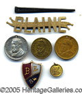 Political:Ferrotypes / Photo Badges (pre-1896), A NICE SELECTION OF 1884 JAMES G. BLAINE CAMPAIGN ITEMS. As show...