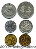 Political:Ferrotypes / Photo Badges (pre-1896), WONDERFUL COLLECTION OF SIX DIFFERENT 1884 BLAINE AND LOGAN JUGA...