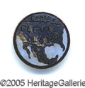 Political:Ferrotypes / Photo Badges (pre-1896), A NEAT GROVER CLEVELAND STUD WE HAVE NOT SEEN BEFORE. Colorful e...