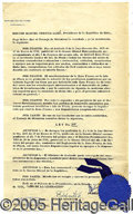 Autographs:Non-American, SCARCE CASTRO SIGNED CUBAN GOVERNMENT DOCUMENT. Dated June 12, 1...