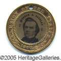 """Political:Ferrotypes / Photo Badges (pre-1896), """"BETTER"""" VARIETY OF 1860 DOUGLAS/JOHNSON CAMPAIGN FERROTYPE. Thi..."""