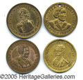 Political:Tokens & Medals, FOUR BRASS CAMPAIGN TOKENS OF THE 1850'S. Similar in design, the...