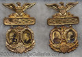 "Political:Ferrotypes / Photo Badges (pre-1896), CHOICE MATCHED PAIR OF 1888 JUGATE BADGES. Spectacular ""minty"" c..."