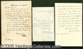Autographs:Statesmen, ALS BY THREE CHIEF JUSTICES WHILE IN OFFICE. Consisting of: 1) 1...