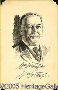 "Autographs:Statesmen, FOUR SIGNED SKETCHES OF SUPREME COURT JUSTICES. These 6 x 9"" pri..."