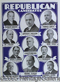 Political:Posters & Broadsides (1896-present), VIVID 1928 HOOVER AND CURTIS CARDBOARD POSTER WITH MINNESOTA COA...