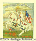 Political:Posters & Broadsides (1896-present), STUNNING 1928 DATED KLU KLUX KLAN POSTER. By far the best paper ...