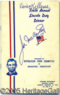 Autographs:Statesmen, FINE SIGNED ITEM FOR SENATOR JOSEPH MCCARTHY. Love him or hate h...