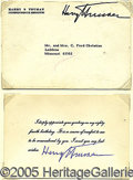 Autographs:U.S. Presidents, NICE HARRY TRUMAN SIGNED ITEM. Engraved card of thanks for sendi...