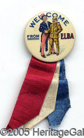 "Political:Pinback Buttons (1896-present), RARE TEDDY ROOSEVELT ""WELCOME FROM ELBA"" 1¼"" BUTTON. This colorf..."