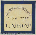 Political:Textile Display (pre-1896), SPECTACULAR LARGE 1856 DOUBLE SIDED FILLMORE CAMPAIGN BANNER. Th...