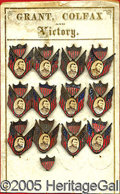 Political:Ferrotypes / Photo Badges (pre-1896), INCREDIBLE ORIGINAL DISPLAY CARD OF 1868 GRANT CAMPAIGN BADGES. ...