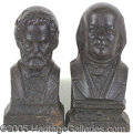 Political:3D & Other Display (pre-1896), MOST UNUSUAL PAIR OF GRANT AND BEN FRANKLIN CAST IRON FIREPLACE ...