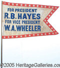 Political:Textile Display (pre-1896), RARE DRAMATIC LARGE 1876 HAYES CAMPAIGN PENNANT FLAG ON ORIGINAL...