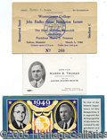 Political:Small Paper (1896-present), THREE NICE HARRY TRUMAN SMALL PAPER ITEMS. 1) Most unusual actua...