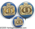 """Political:Pinback Buttons (1896-present), THREE VARIETIES OF THE CLASSIC MCKINLEY-ROOSEVELT """"FULL DINNER B..."""