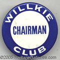 """Political:Pinback Buttons (1896-present), EXTREMELY RARE 3"""" WILLKIE BUTTON VARIETY. We can't recall ever s..."""