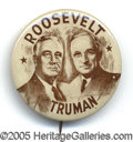 """Political:Pinback Buttons (1896-present), KEY 1½"""" SIZE 1944 ROOSEVELT-TRUMAN BUTTON VARIETY. There is only..."""