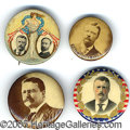 """Political:Pinback Buttons (1896-present), FOUR 1904 T.R. CAMPAIGN BUTTONS. Three 1¼"""" and on 1"""" size. The j..."""