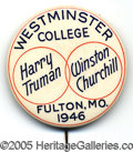 """Political:Pinback Buttons (1896-present), CLASSIC TRUMANCHURCHILL 2 1/8"""" BUTTON. This collector favorite w..."""