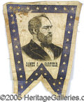 Political:Textile Display (pre-1896), SCARCE 1880 GARFIELD CAMPAIGN CLOTH BANNER. The company that mad...