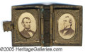 "Political:Ferrotypes / Photo Badges (pre-1896), NICE BRASS ""BOOK"" CHARM WITH JUGATE ALBUMIN PORTRAITS OF LINCOLN..."