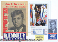 "VERY WORTHWHILE COLLECTION OF JFK PAPER CAMPAIGN ITEMS. 1) Red, white, blue ""For U.S. Senator"" pamphlet 2) Lar..."