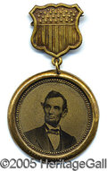 Political:Ferrotypes / Photo Badges (pre-1896), PREMIER GIANT 1864 LINCOLN CAMPAIGN FERROTYPE BADGE. This item p...