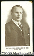 "Political:Small Paper (1896-present), RARE COX FOR GOVERNOR CARD. Most unusual postcard-size card of ""..."