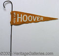 Political:Textile Display (1896-present), WALKING STICK WITH HERBERT HOOVER FELT PENNANT ATTACHED (AS MADE...