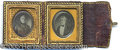 Political:Ferrotypes / Photo Badges (pre-1896), AWESOME 1848 CAMPAIGN DAGUERREOTYPE JUGATE OF TAYLOR AND FILLMOR...