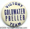 """Political:Pinback Buttons (1896-present), EXTREMELY RARE 1 ¾"""" GOLDWATER COATTAIL BUTTON. If this distincti..."""