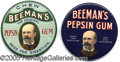 Advertising:Pocket Mirrors & Pinbacks, BEEMAN'S GUM ADVERTISING PAIR. Here is an opportunity to purcha...