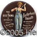 Advertising:Pocket Mirrors & Pinbacks, OVERALLS POCKET MIRROR. This beautiful classic shows a bear bre...