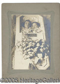 Photography:Cabinet Photos, UNUSUAL DOUBLE BURIAL POST MORTEM PHOTO. Cabinet card of two ch...