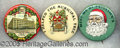 Advertising:Pocket Mirrors & Pinbacks, EXCELLENT GROUP OF THREE ADVERTISING PINS PICTURING SANTA.. All...