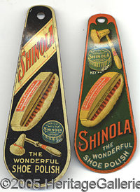 EARLY TIN LITHOGRAPHED SHINOLA SHOEHORNS PAIR. This is a nice pair advertising the Shinola Shoe Polish Co. Both tin lith...
