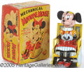 Antiques:Toys, GREAT LINE MAR MINNIE MOUSE MECHANICAL LITHO TIN TOY. Scarce t...