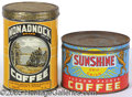 Advertising:Tins, TWO VINTAGE COFFEE TINS KEYWIND AND ONE LB.. This is a nice lot...