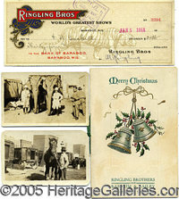 EARLY RINGLING BROS./ BARNUM & BAILEY CIRCUS GROUP. Consisting of: 1) Colorful 1914 check signed by Ringling (scarce...