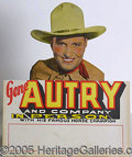 Advertising:Signs, EARLY, 1930'S DIE-CUT GENE AUTRY COUNTER-TOP AD SIGN. Colorful,...