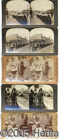 Photography:Stereo Cards, FIVE SCARCE EARLY AFRICAN AMERICAN STEREO VIEW CARDS. 1) A pair...